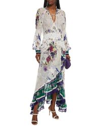 Camilla Ruffled Printed Silk-crepon Maxi Wrap Dress - White