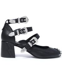 McQ - Buckled Studded Textured-leather Court Shoes - Lyst