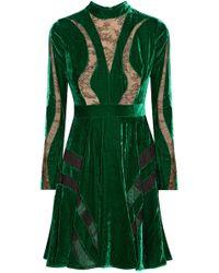Elie Saab Chantilly Lace-paneled Crushed-velvet Dress Forest Green