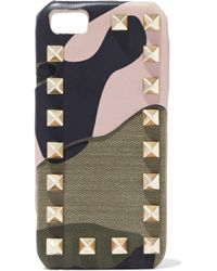Valentino - Rockstud Printed Leather And Canvas Iphone 5 Case Neutral - Lyst