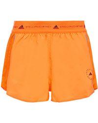 adidas By Stella McCartney Mesh-paneled Shell Shorts Bright Orange