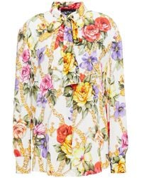 Boutique Moschino Pussy-bow Floral-print Crepe De Chine Shirt - White