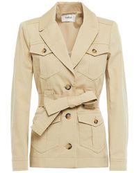 Ba&sh Belted Cotton-blend Gabardine Jacket - Natural