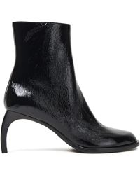 Ann Demeulemeester Crinkled Patent-leather Ankle Boots Black