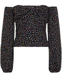 Reformation Simi Off-the-shoulder Polka-dot Crepe Top - Black