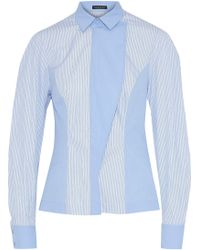 Versace - Panelled Striped Cotton Shirt - Lyst