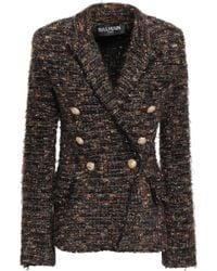 Balmain Double-breasted Metallic Tweed Blazer Multicolour - Black