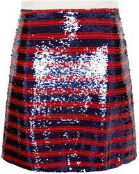 Vivetta Striped Sequined Tulle Mini Skirt Midnight Blue