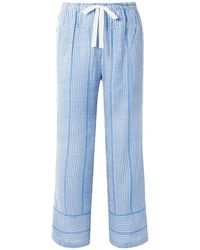lemlem Zinab Metallic Striped Cotton-blend Voile Pants Light Blue