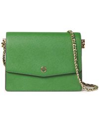 Tory Burch Textured-leather Shoulder Bag Green