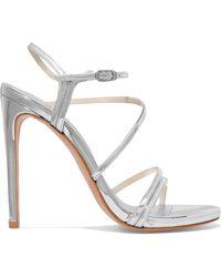 Stuart Weitzman - Follie Metallic Leather Sandals - Lyst