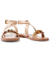 Valentino - Metallic Embellished Leather Sandals - Lyst