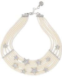 Ben-Amun - Silver-tone, Faux Pearl And Crystal Necklace - Lyst