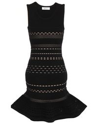 Bailey 44 Fluted Pointelle-knit Mini Dress Black