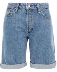 Rag & Bone Distressed Denim Shorts Light Denim - Blue