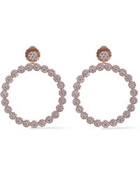 CZ by Kenneth Jay Lane - Woman Rose Gold-tone Crystal Hoop Earrings Rose Gold - Lyst