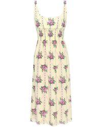 Emilia Wickstead Giovanna Shirred Floral-print Silk Crepe De Chine Midi Dress Pastel Yellow