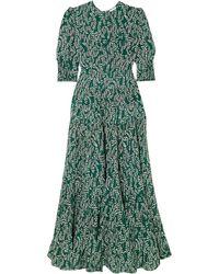 RIXO London Kristen Tiered Floral-print Cotton And Silk-blend Midi Dress - Green