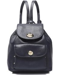 COACH Textured-leather Backpack - Blue
