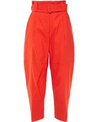 A.L.C. Cropped Belted Pleated Linen-blend Tapered Pants Tomato Red
