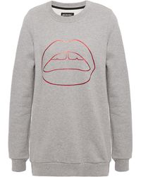 Markus Lupfer Anna Metallic Printed Cotton-fleece Sweatshirt Stone - Grey