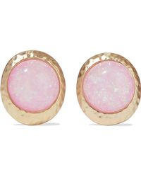 Kenneth Jay Lane - Hammered Gold-tone Stone Clip Earrings - Lyst