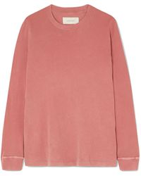 The Great The Long Sleeve Cotton-jersey Top Antique Rose - Pink
