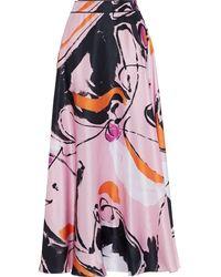 ROKSANDA Printed Silk-satin Midi Skirt Baby Pink
