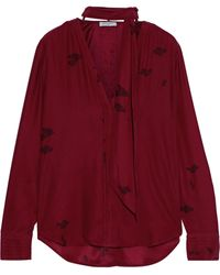 Equipment Fayanna Tie-neck Floral-print Washed-silk Blouse Claret - Red