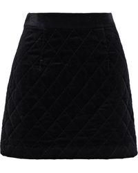 FRAME Quilted Cotton-blend Velvet Mini Skirt Black