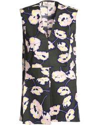 Marni - Floral-print Cotton-poplin Top Army Green - Lyst
