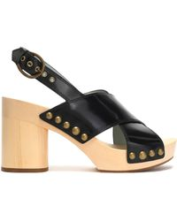 Marc Jacobs - Studded Glossed-leather Platform Sandals - Lyst