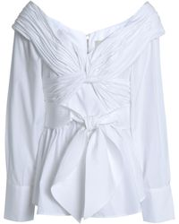 Johanna Ortiz Jandra Off-the-shoulder Tie-front Cotton-poplin Blouse White