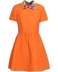Valentino Leather-trimmed Gathered Wool And Silk-blend Mini Dress Orange