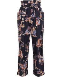 Vivetta Belted Pleated Floral-print Cotton-poplin Wide-leg Pants Midnight Blue