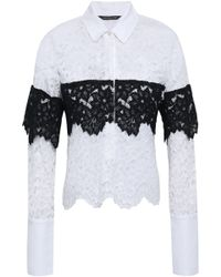 Marissa Webb Piqué-paneled Corded Lace Shirt White