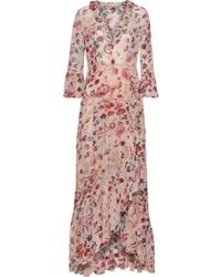 byTiMo Wrap-effect Ruffled Floral-print Georgette Maxi Dress Blush - Pink