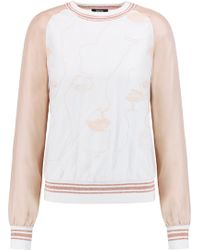 Raoul - Embroidered Tulle And Silk Sweatshirt Baby Pink Size 34 - Lyst