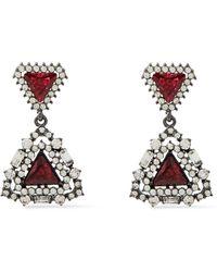 Kenneth Jay Lane Oxidized Silver-tone Crystal Earrings - Red