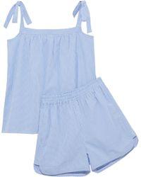 Iris & Ink - Val Bow-detailed Cotton-poplin Gingham Pajama Set - Lyst