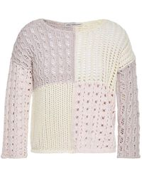 Cotton by Autumn Cashmere Patchwork-effect Donegal Crochet-knit Cotton-blend Jumper - White