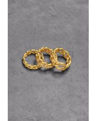 Noir Jewelry - Set Of Three Gold-plated Crystal Rings Gold - Lyst