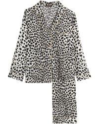 Roberto Cavalli Leopard-print Silk Pyjama Set - Natural