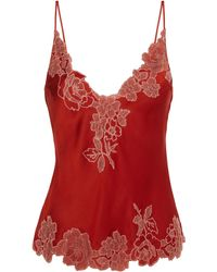 Carine Gilson Lace-trimmed Silk Camisole - Red