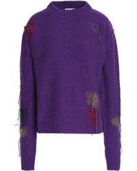 Acne Studios Frayed Wool Sweater - Purple