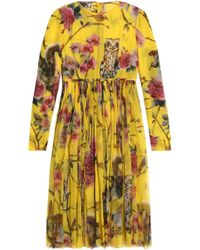 Dolce & Gabbana - Pleated Printed Silk-georgette Dress - Lyst