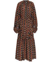 Stella Jean Gathered Printed Crepe De Chine Maxi Dress - Brown