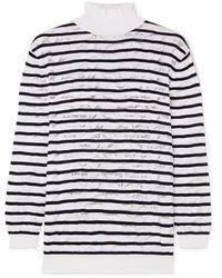 Chloé Striped Cotton-blend Lace Turtleneck Jumper - White