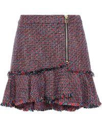 Veronica Beard Zip-detailed Frayed Tweed Mini Skirt Brick - Red