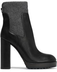 Brunello Cucinelli - Bead-embellished Ribbed-knit And Leather Ankle Boots - Lyst
